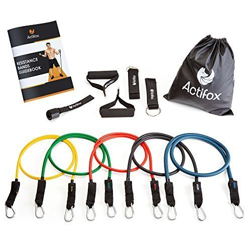 Actifox-Resistance-Band-Set-by-Portable-Gym-Set-for-Weight-Exercise-Fitness-Workout-Yoga--5-Stackable-Bands-5130lbs-Ankle-Straps-Handles-Door-Anchor-Bag-80-Exercises-Book-Paperback-0-0