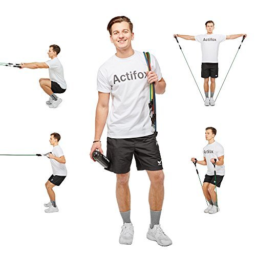 Actifox-Resistance-Band-Set-by-Portable-Gym-Set-for-Weight-Exercise-Fitness-Workout-Yoga--5-Stackable-Bands-5130lbs-Ankle-Straps-Handles-Door-Anchor-Bag-80-Exercises-Book-Paperback-0-5