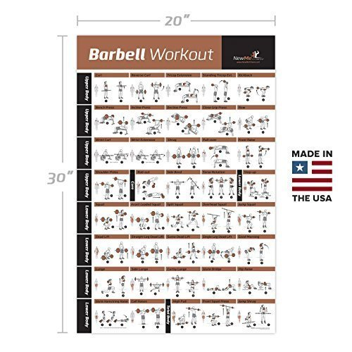 BARBELL-WORKOUT-EXERCISE-POSTER-LAMINATED-Home-Gym-Weight-Lifting-Chart-Build-Muscle-Tone-Tighten-Strength-Training-Routine-Body-Building-Guide-w-Free-Weights-Resistance-20x30-0-0