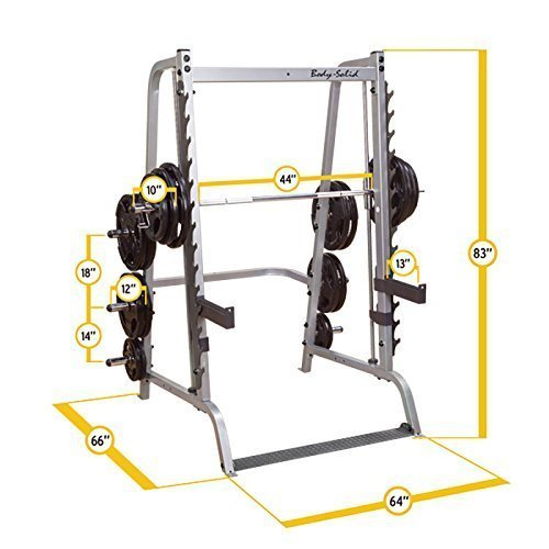 Body-Solid-GS348Q-Series-7-Linear-Bearing-Smith-Machine-with-Olympic-Rubber-Grip-Weight-Plates-0-0
