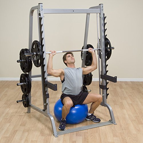 Body-Solid-GS348Q-Series-7-Linear-Bearing-Smith-Machine-with-Olympic-Rubber-Grip-Weight-Plates-0-2