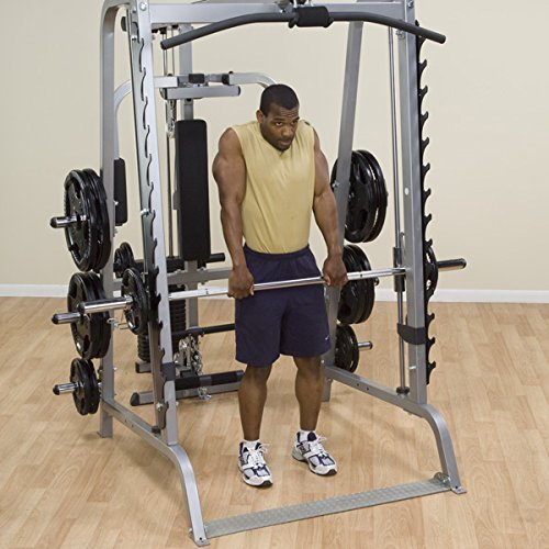 Body-Solid-GS348Q-Series-7-Linear-Bearing-Smith-Machine-with-Olympic-Rubber-Grip-Weight-Plates-0-3