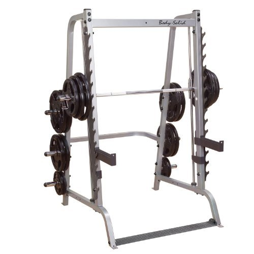 Body-Solid-GS348Q-Series-7-Linear-Bearing-Smith-Machine-with-Olympic-Rubber-Grip-Weight-Plates-0