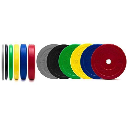 Color-Bumper-Plate-SetsVirgin-Rubber-wSteel-InsertLow-Odor-Dead-BounceCrossfit-Olympic-Weightlifting-Strength-Training-Equipment-0