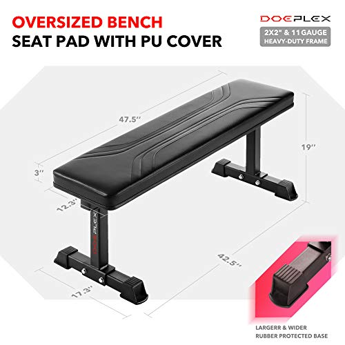 Doeplex-Flat-Weight-Bench-Sit-up-Abdominal-Exercise-Workout-Bench-1200-lb-Rating-for-Weightlifting-0-9