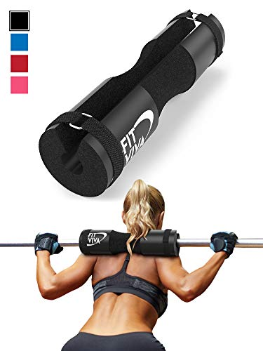 Fit-Viva-Barbell-Pad-for-Standard-and-Olympic-Barbells-with-Safety-Straps-Bonus-30-Day-Challenge-from-Foam-Pad-for-Weightlifting-Hip-Thrusts-Squats-and-Lunges-0