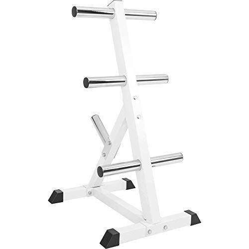 GORILLA-SPORTS-Olympic-2-inch-Plate-Tree-White--Bar-Rack-with-7-Branches-770-lbs-rated-0