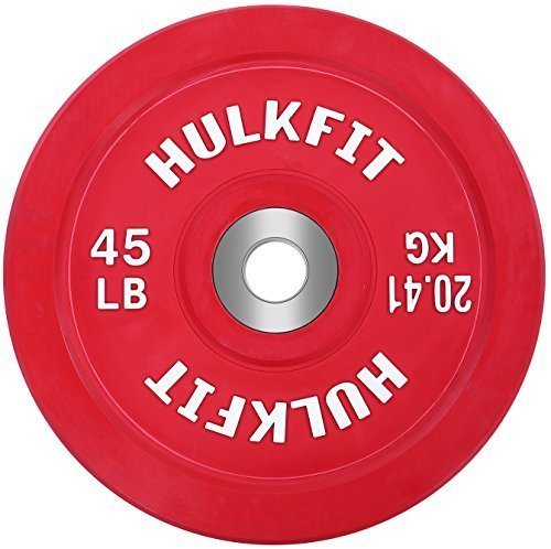 HulkFit-Color-Coded-Olympic-2-Inch-Rubber-Bumper-Plate-with-Steel-Hub-for-Strength-Training-Weightlifting-and-Crossfit-Single-0
