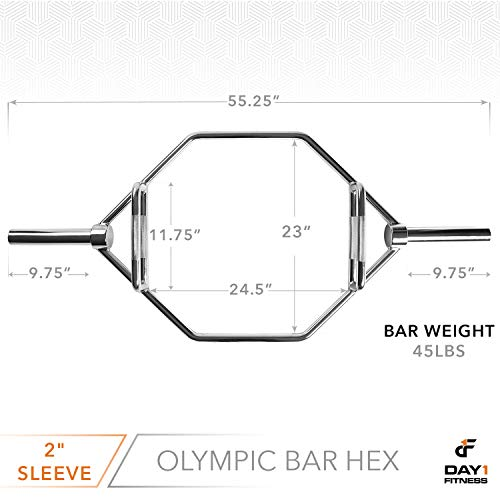 Olympic-2-Inch-Combo-Hex-Bar-by-D1F-for-Weight-Lifting--750lb-Capacity-Silver-Hexagon-Deadlift-Bars-with-Knurled-Handles-for-Powerlifting-Standard-Dead-Squat-Barbell-for-Bodybuilders-0-1