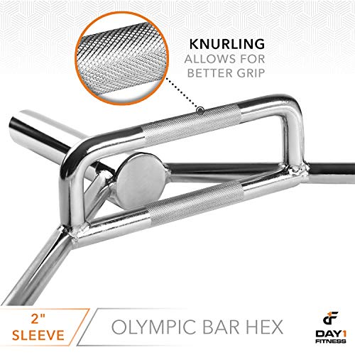 Olympic-2-Inch-Combo-Hex-Bar-by-D1F-for-Weight-Lifting--750lb-Capacity-Silver-Hexagon-Deadlift-Bars-with-Knurled-Handles-for-Powerlifting-Standard-Dead-Squat-Barbell-for-Bodybuilders-0-2