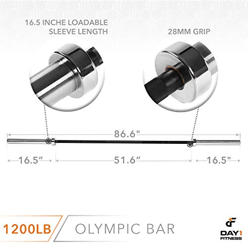 Olympic-Barbell-2-700-OR-1200-POUND-CAPACITY-OPTION-7-by-D1F-for-Weightlifting-Bench-Press-Bodybuilding-Powerlifting-Durable-Crossfit-Bar-Heavy-Duty-Steel-Bars-and-Barbells-Holds-2-Plates-0-0