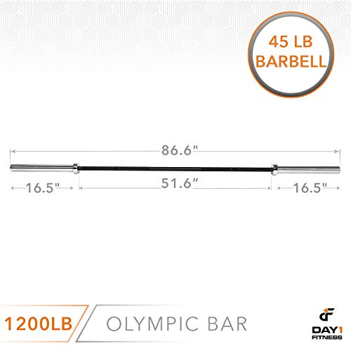 Olympic-Barbell-2-700-OR-1200-POUND-CAPACITY-OPTION-7-by-D1F-for-Weightlifting-Bench-Press-Bodybuilding-Powerlifting-Durable-Crossfit-Bar-Heavy-Duty-Steel-Bars-and-Barbells-Holds-2-Plates-0-2