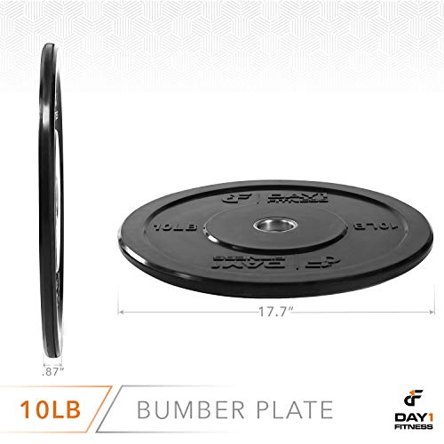 Olympic-Bumper-Plate-2--5-Weights-Available-10-to-45lbs-by-D1F-Weighted-Plates-for-Barbells-Bars-Shock-Absorbing-Minimal-Bounce-Weights-for-Lifting-Strength-Training-Singles-or-Pairs-0-2