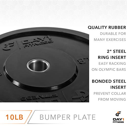 Olympic-Bumper-Plate-2--5-Weights-Available-10-to-45lbs-by-D1F-Weighted-Plates-for-Barbells-Bars-Shock-Absorbing-Minimal-Bounce-Weights-for-Lifting-Strength-Training-Singles-or-Pairs-0-3