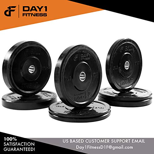 Olympic-Bumper-Plate-2--5-Weights-Available-10-to-45lbs-by-D1F-Weighted-Plates-for-Barbells-Bars-Shock-Absorbing-Minimal-Bounce-Weights-for-Lifting-Strength-Training-Singles-or-Pairs-0-5