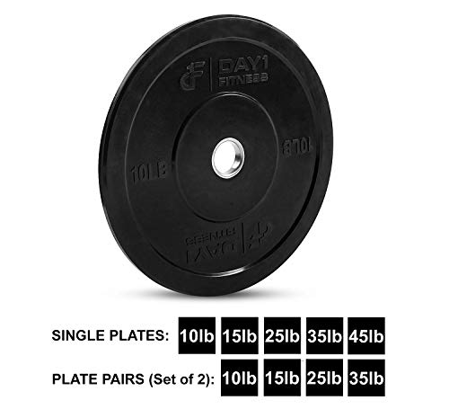 Olympic-Bumper-Plate-2--5-Weights-Available-10-to-45lbs-by-D1F-Weighted-Plates-for-Barbells-Bars-Shock-Absorbing-Minimal-Bounce-Weights-for-Lifting-Strength-Training-Singles-or-Pairs-0