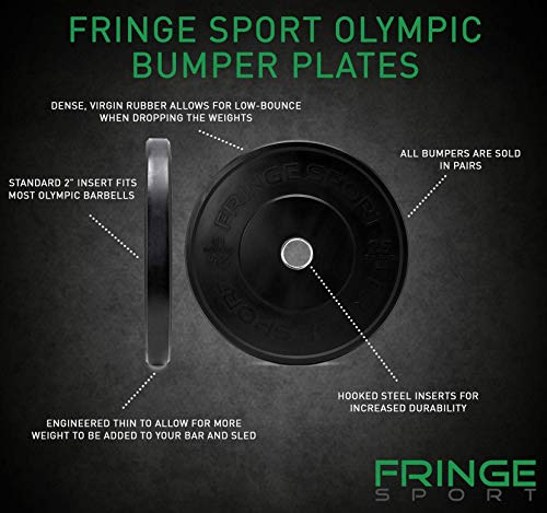 OneFitWonder-160-Lbs-Bumper-Plates-SetVirgin-Rubber-Low-Bounce-Odorless-Premium-Olympic-Weight-Plates-for-Crossfit-TrainingWeight-LiftingHome-Gym-Sold-in-Pair-of-10-lbs25-lbs45-lbs-0-0