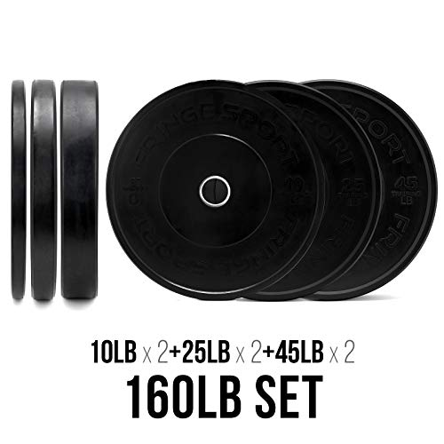 OneFitWonder-160-Lbs-Bumper-Plates-SetVirgin-Rubber-Low-Bounce-Odorless-Premium-Olympic-Weight-Plates-for-Crossfit-TrainingWeight-LiftingHome-Gym-Sold-in-Pair-of-10-lbs25-lbs45-lbs-0