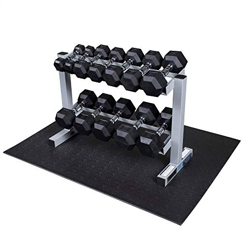 Powerline-by-Body-Solid-2-Tier-Horizontal-Dumbbell-Rack-with-Rubber-Hex-Dumbbells-PDR282X-RFWS-0-0