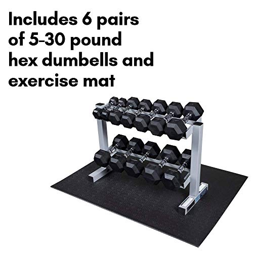 Powerline-by-Body-Solid-2-Tier-Horizontal-Dumbbell-Rack-with-Rubber-Hex-Dumbbells-PDR282X-RFWS-0-1