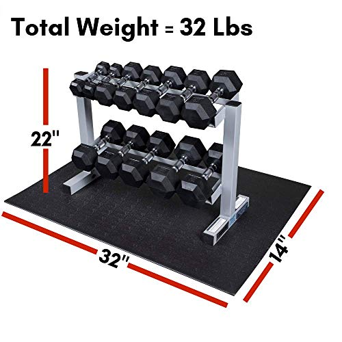 Powerline-by-Body-Solid-2-Tier-Horizontal-Dumbbell-Rack-with-Rubber-Hex-Dumbbells-PDR282X-RFWS-0-3