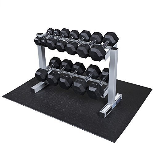 Powerline-by-Body-Solid-2-Tier-Horizontal-Dumbbell-Rack-with-Rubber-Hex-Dumbbells-PDR282X-RFWS-0