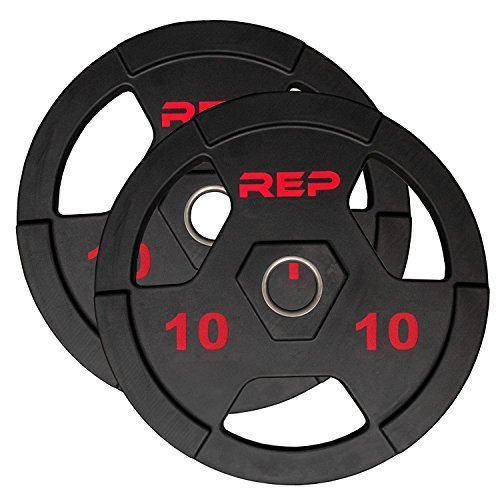 Rep-Rubber-Coated-Olympic-Plates--Tri-Grip-Olympic-Barbell-Weights--Sold-in-Pairs-and-Sets-0-0