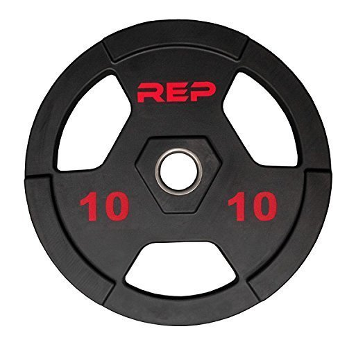 Rep-Rubber-Coated-Olympic-Plates--Tri-Grip-Olympic-Barbell-Weights--Sold-in-Pairs-and-Sets-0-1