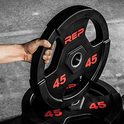 Rep-Rubber-Coated-Olympic-Plates--Tri-Grip-Olympic-Barbell-Weights--Sold-in-Pairs-and-Sets-0-4
