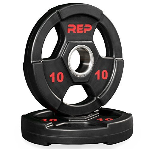 Rep-Rubber-Coated-Olympic-Plates--Tri-Grip-Olympic-Barbell-Weights--Sold-in-Pairs-and-Sets-0