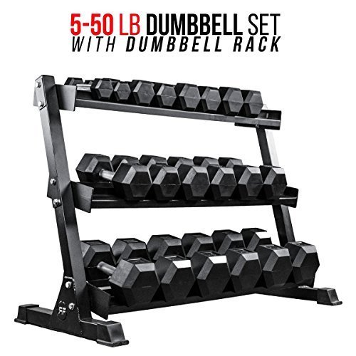 Rep-Rubber-Hex-Dumbbell-Set-with-Racks-5-50-Set-5-75-Set-5-100-Set-25-275-Set-55-75-80-100-or-105-125-Set-Available-with-and-Without-Racks-0