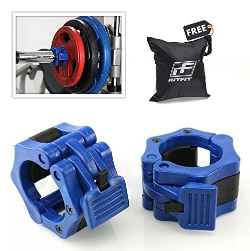 RitFit-2-Olympic-Barbell-Collars-Pair-Solid-Nylon-Locking-Clamps-with-Quick-Release-Secure-Snap-Latch-Great-for-Crossfit-OHP-Squats-Deadlifts-Cleans-Snatches-0-0