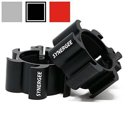 Synergee-Aluminium-Barbell-Collars--Locking-2-Olympic-Size-Weight-Clamps-Quick-Release-Collar-Clips--Bar-Clamps-Great-for-Crossfit-Olympic-Lifts-and-Strength-Training-0