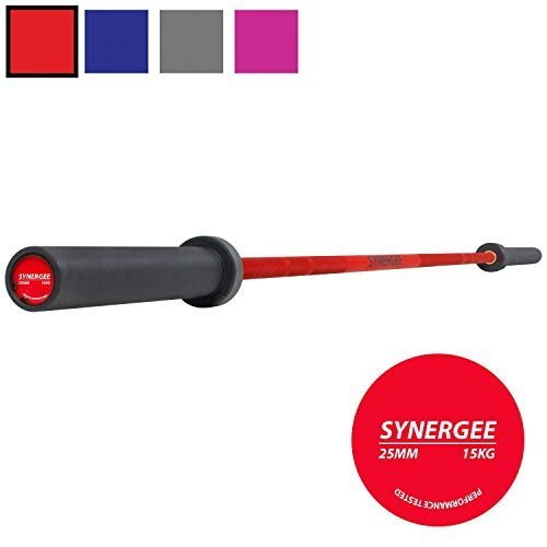 Synergee-Games-15kg-and-20kg-Colored-Cerakote-Barbells-Rated-1500lbs-for-Weightlifting-Powerlifting-and-Crossfit-Red-Blue-Grey-Pink-0