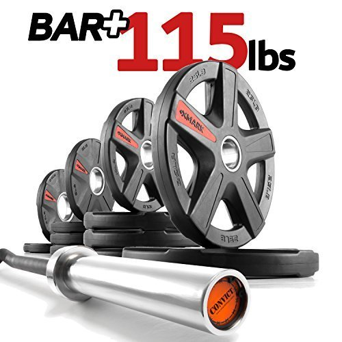 The-Wardens-Package-XMark-Convict-6-Rackable-Olympic-EZ-Curl-Bar-Olympic-Bar-Only-or-Bar-Plus-Texas-Star-Signature-or-TRI-Grip-Olympic-Plate-Weight-Sets-Use-with-Squat-Rack-or-Weight-Bench-0