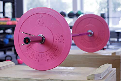 X-Training-Equipment-Premium-Pink-Olympic-Bumper-Plate-Solid-Rubber-with-Steel-Insert-Great-for-Crossfit-Workouts-0-2