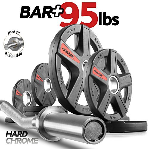XMark-Commercial-Hard-Chrome-Olympic-EZ-Curl-Bar-Brass-Bushings-with-Optional-Texas-Star-Signature-or-TRI-Grip-Olympic-Plate-Weight-Sets-Great-for-Bicep-Curl-and-Triceps-Extension-0-0