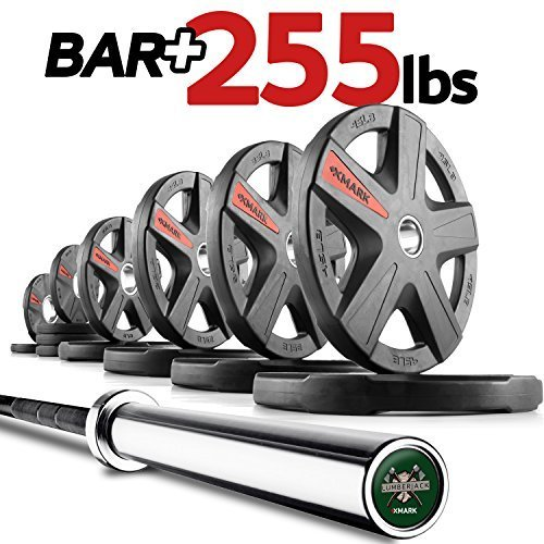 XMark-Lumberjack-7-Olympic-Bar-Olympic-Bar-Only-or-Optional-XMark-Texas-Star-Signature-or-TRI-Grip-Olympic-Plate-Weight-Sets-155-lb-185-lb-205-lb-255-lb-or-365-lb-Olympic-Weight-Sets-0