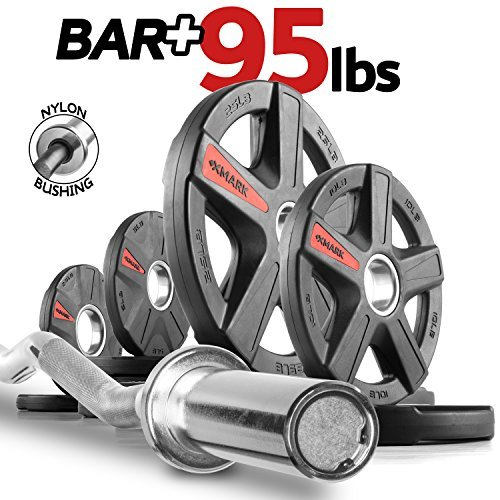 XMark-Olympic-EZ-Curl-Bar-with-Optional-Texas-Star-Signature-or-TRI-Grip-Olympic-Plate-Weight-Sets-Use-with-Preacher-Curl-Bench-Utility-or-Dumbbell-Benches-Bicep-Curl-and-Triceps-Extension-0-0