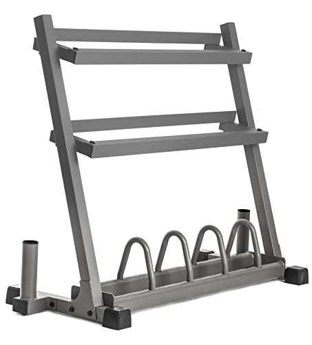 XMark-Powerhouse-2-Dumbbell-Rack-and-Plate-Weight-Rack-Loaded-with-350-lbs-of-Hex-Dumbbells-365-lbs-of-Texas-Star-Olympic-Plate-Weights-Lumberjack-Olympic-Bar-and-Curl-Bar-0