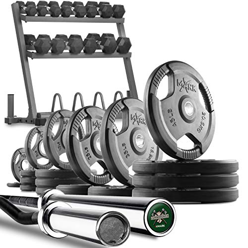 XMark-Powerhouse-II-Includes-Rack-350-lbs-of-Dumbbells-Curl-Bar-Lumberjack-7-Olympic-Bar-Plus-185-to-365-lbs-of-Texas-Star-Signature-or-TRI-Grip-Olympic-Weight-Plates-0