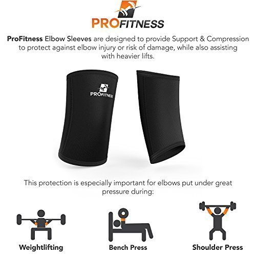 ProFitness-Weight-Lifting-Elbow-Sleeves-5mm-Thick-Neoprene-Elbow-Support-Compression-Braces-for-Weightlifting-Tennis-Sports-Prevent-Injuries-Tendonitis-Arthritis-Forearm-Pain-0-0