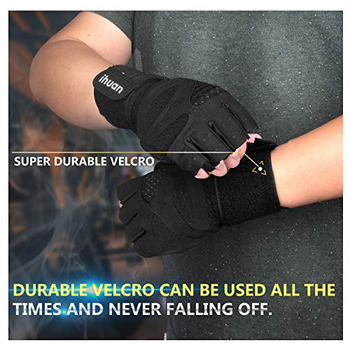 Updated-2019-Version-Professional-Ventilated-Weight-Lifting-Gym-Workout-Gloves-with-Wrist-Wrap-Support-for-Men-Women-Full-Palm-Protection-for-Weightlifting-Training-Fitness-Hanging-Pull-ups-0-3